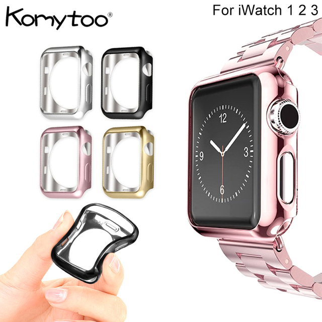 new arrival e68d0 62610 US $1.99 35% OFF Shockproof 38mm 42mm Plating Case For Apple Watch Series 3  2 1 Screen Protector Ultra Slim TPU Soft Case Cover For Apple Watch-in ...