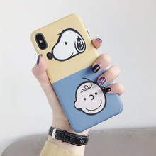 Cartoon  peanuts Charlie Brown matte Phone Case For coque iPhone 6S 7 8 Plus Kawaii anime dog case for iphone X XR Xs max cover
