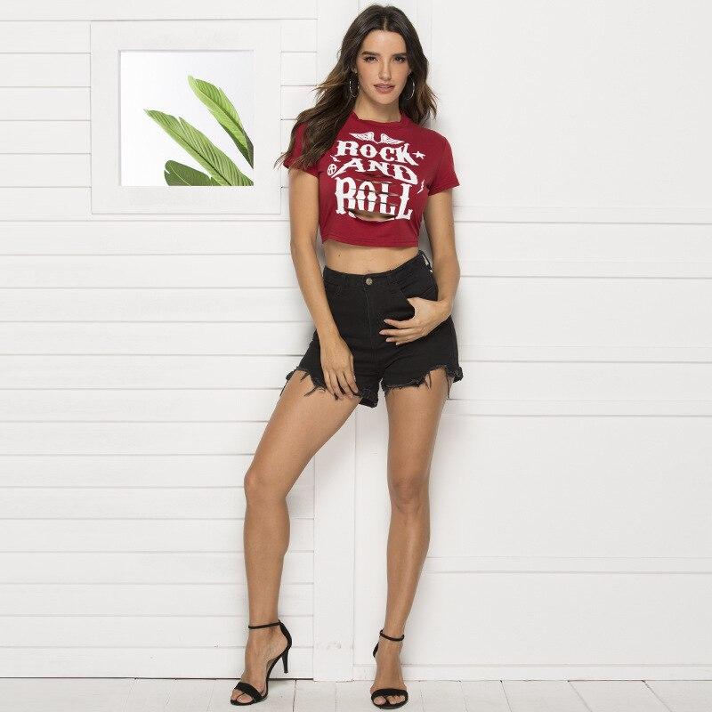 Top cropped de buraco feminino, camiseta sexy