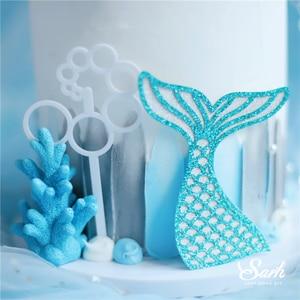 Image 5 - Taç Mermaid dekor balık kuyruğu kabuk lazer gümüş kek Topper mektubu dekorasyon için çocuk doğum günü partisi düğün malzemeleri sevimli hediyeler