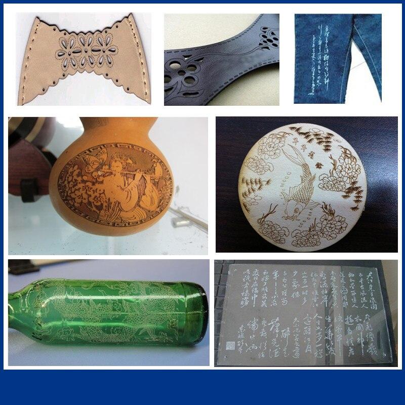 Jinan application large jeans bois verre mdf en caoutchouc pierre autofocus mini co2 laser machine de gravure