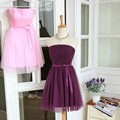 Cheap Short Bridesmaid Dress Real Photos Silver Gray Pleated Tulle Strapless Short Girls Bridesmaid Dresses Party Dress