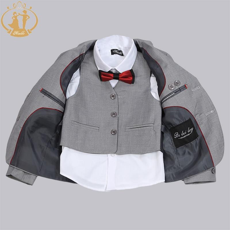 Nimble Brand New Formal Solid Boy Suits Set 3 stycken + Jacka + Pant - Barnkläder - Foto 2