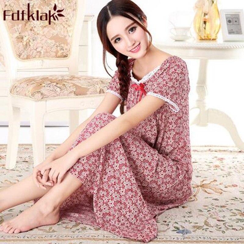 Hot Women Rainbow Sleepwear Dress Cotton Nightgown Loose Long Sleeve Nightdress