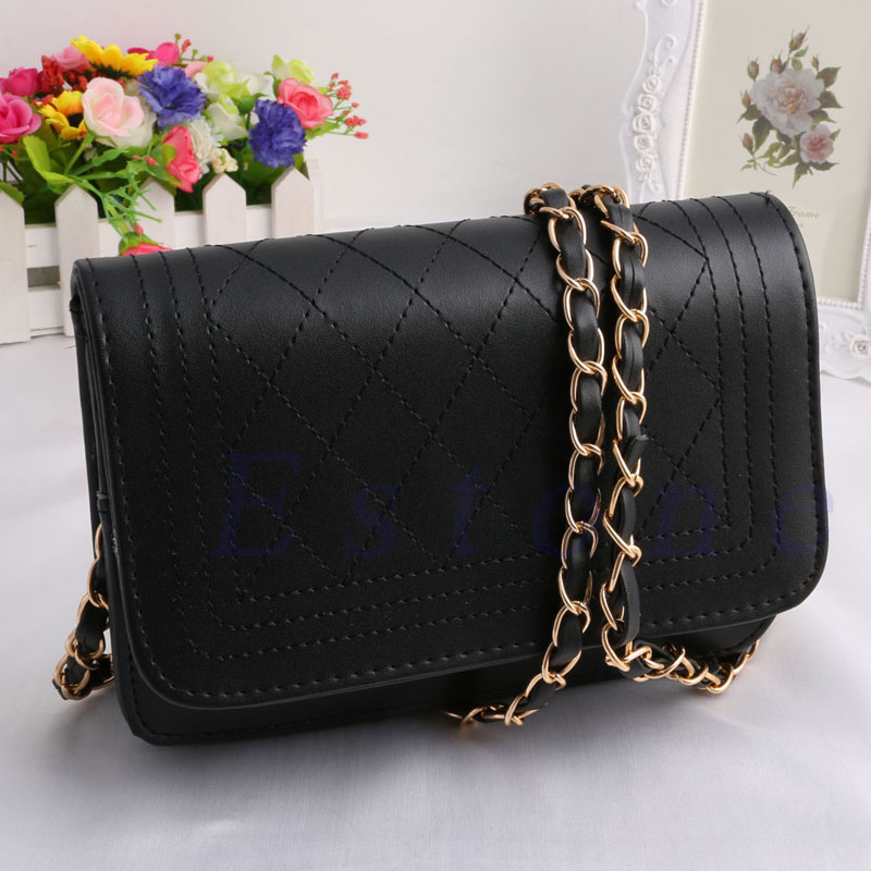 2017 New Fashion Women Lady Girls Small Chain Quilted Shoulder CrossBody Bag 2 Colors Black White Cover Socialite Solid Bags mini gray shaggy deer pvc quilted chain bag with cover real picture