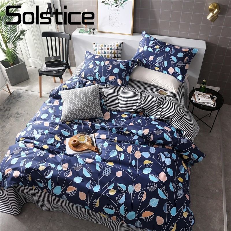 Solstice Bedding-Sets Pillow-Case Duvet-Cover Bed-Sheet Linen Home-Textile King Blue