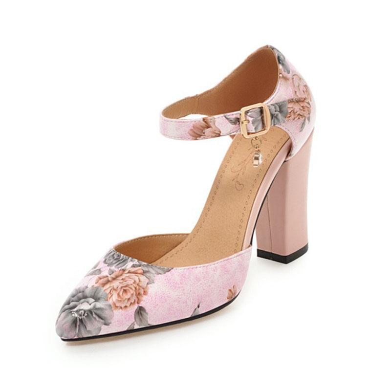 2018 Women Pumps High Heels Woman Shoes Brand Spring Pointed Toe Ankle Strap Pumps Flower Thick Heel Wedding Shoes Plus Size 45 11