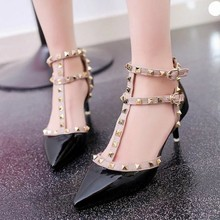 Women Shoes Women Sandals 2019 New High Heels Pointed Shallow Mouth Sandals Rivet T-shaped Buckle High Heels Red Wedding Shoes недорого