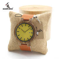 BOBO BIRD Men's Zebra นาฬิกาไม้นาฬิกาที่มีสีสันการออกแบบผู้ชายแบรนด์ยอดนิยมนาฬิกาข้อมือนาฬิกาของขวัญกล่องไม้ไผ่