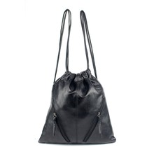 drawstring bag kid lot Women drawstring Bag black Pure color PU Leather waterproof Bags summer Drawstring Backpack custom logo