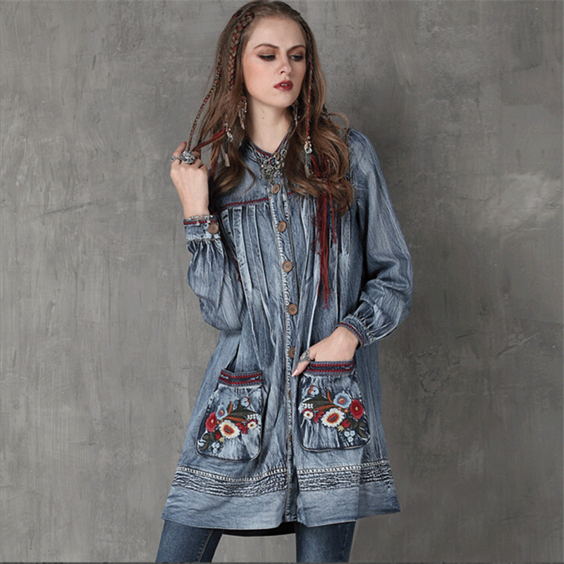 Vintage Floral Embroidery Women Dress Cotton Linen Loose Stand Collar Dress Denim Womens Long Sleeve Dresses