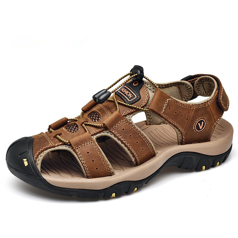 2019 New Male Shoes Genuine Leather Men Sandals Summer Men Shoes Beach Sandals Man Fashion Outdoor Casual Sneakers Puls Size 46