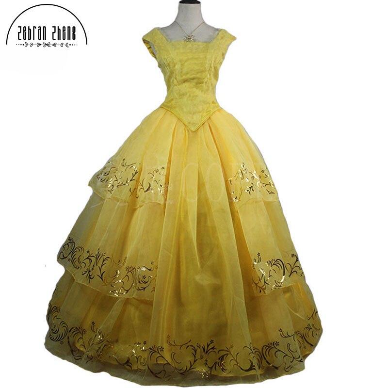 Новый Кино Красота и чудовище Красавица Принцесса Желтый Одежда высшего качества Косплэй костюм платье для взрослых Для женщин Обувь для д...