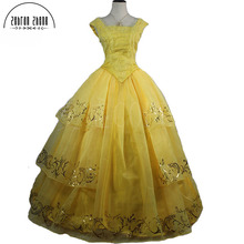 New Moive Beauty And The Beast Belle Princess Yellow Top Quality Cosplay Costume Dress For Adults Women Girls Custom Made