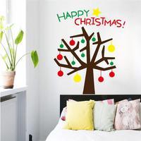 Happy christmas tree cytaty naklejki ścienne szklane dekoracje pokoju 059. diy vinyl naklejki festiwal prezent domu mual sztuki plakatu 3.5