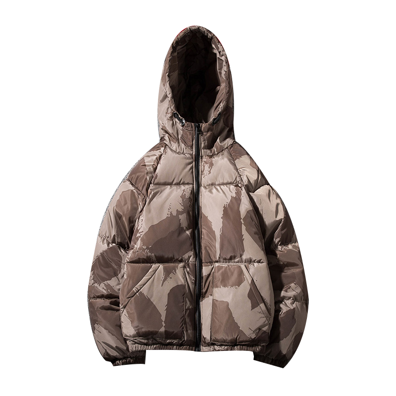 man camouflage Jacket Winter Warm Down Cotton Padded Short   Parkas   Bread Style Fashion Men's Bomber Hooded Outwear Couple jacket