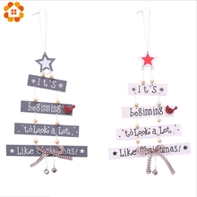 1Pcs Merry Christmas Letter Wooden Pendant Ornaments Xmas Tree Ornament Wood Crafts For Home Wall Party Decoration