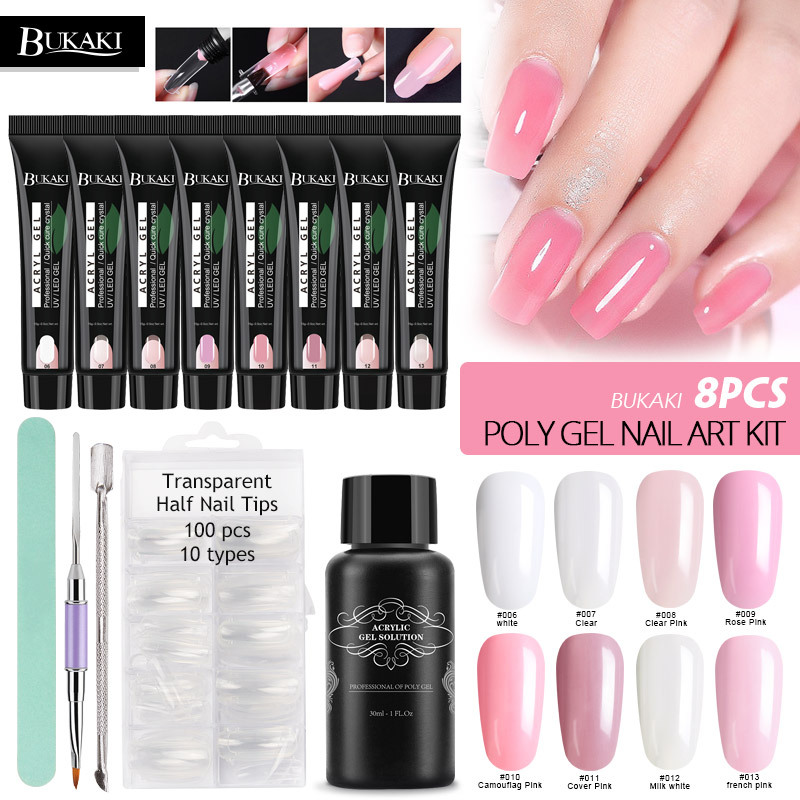 Bukaki Poly Gel Nail Extension Sets Nail Art Tips Brush Uv Builder Gel Crystal Jelly Camouflage Quick Hard Finger Poly Gel Kits Nail Gel Aliexpress All products available to order on our website www.gelessentials.com. bukaki poly gel nail extension sets