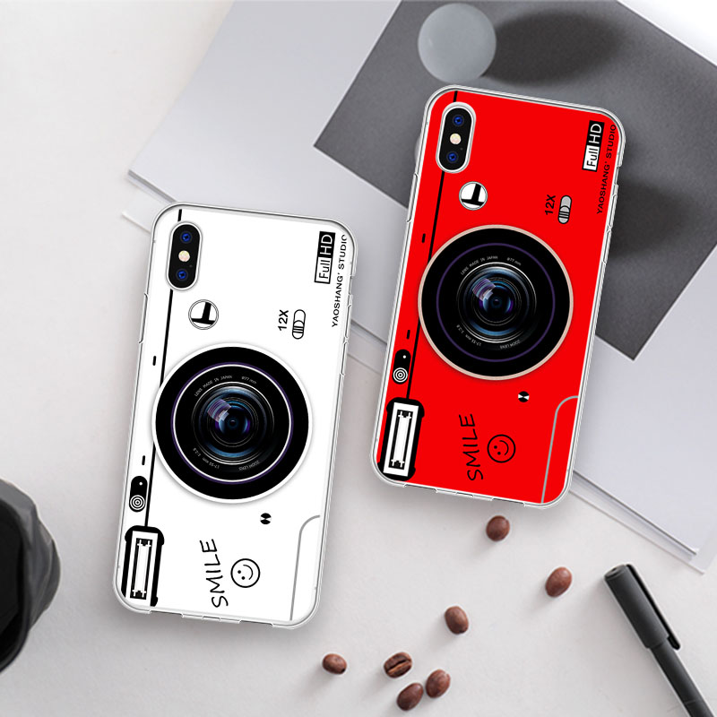 Vintage Luxury Camera Soft Phone Case Coque For iPhone X XR MAX Cute Transparent Phone Cover For iPhone 8 7 Plus 5 6 Case image