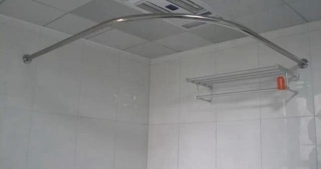 Badkamer Gordijn Rails : Set gebogen douchegordijn staaf rvs u vormige l vormige badkamer