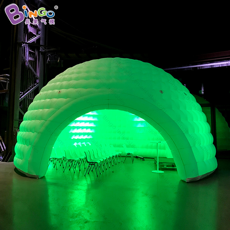 Igloo gonflable d'éclairage de 8x7x5 mètres/tente gonflable de dôme de neige/igloo gonflable de couleur blanche soufflé par air avec des tentes de jouet de LEDs