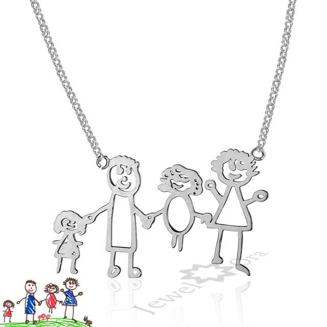 Mom Jewelry Children Birthday Gifts Personalized 925 Sterling Silver Loving Family Drawing Christmax Gift DIY Custom