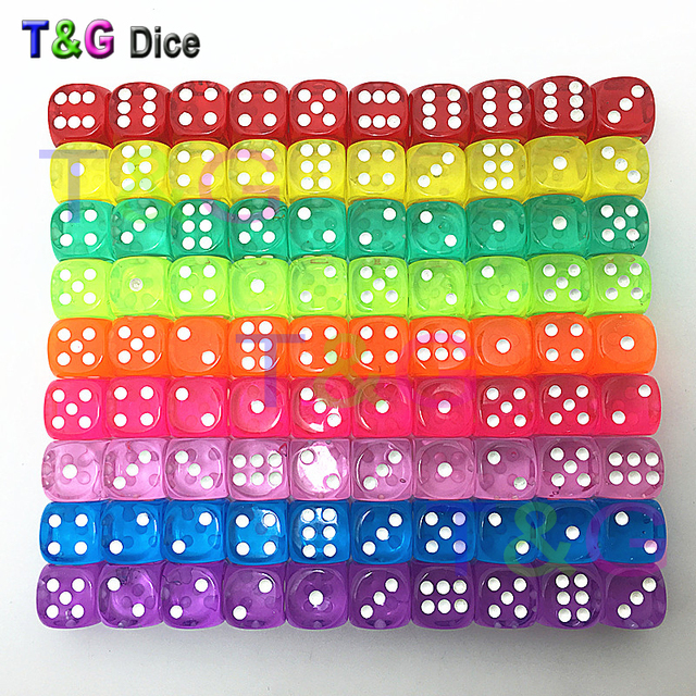 wholesales 14mm 10pcs/set acrylic transaprent d6 dice,6 sided gambling small dice for sale,red,blue,green,yellow,purple 5 colors