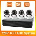 720 P 4CH AHD DVR Система Комплект 4 Канала AHD DVR + 4 Шт. Безопасности CCTV 720 P AHD Купольная Камера Главная Система Видеонаблюдения комплекты