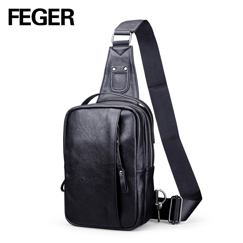 FEGER fashion mens mini PU sling bag travel sling pack casual chest bag big volu