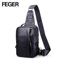 FEGER mode heren mini PU sling bag reizen sling pack casual borst bag grote volume MANNELIJKE TAS Kleine beroemde Merk Schoudertas