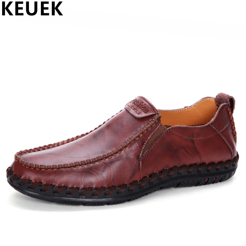 Genuine leather Men flats Fashion Sewing Round Toe boat shoes Breathable Casual leather shoes Loafers Driving shoes 033 zplover fashion men shoes casual spring autumn men driving shoes loafers leather boat shoes men breathable casual flats loafers