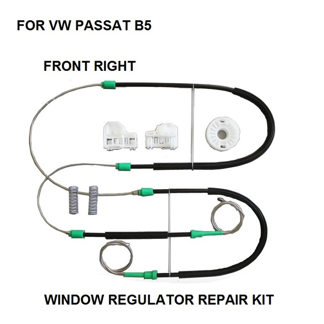 FOR VOLKSWAGEN VW PASSAT B5 WINDOW REGULATOR REPAIR KIT CABLES AND CLIPS FRONT RIGHT 1996 to 2005 3B1837462