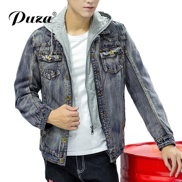c7d50a6cc92 Горячая джинсовая куртка Для мужчин зима-осень верхняя одежда с капюшоном  Повседневное модные джинсы Куртки
