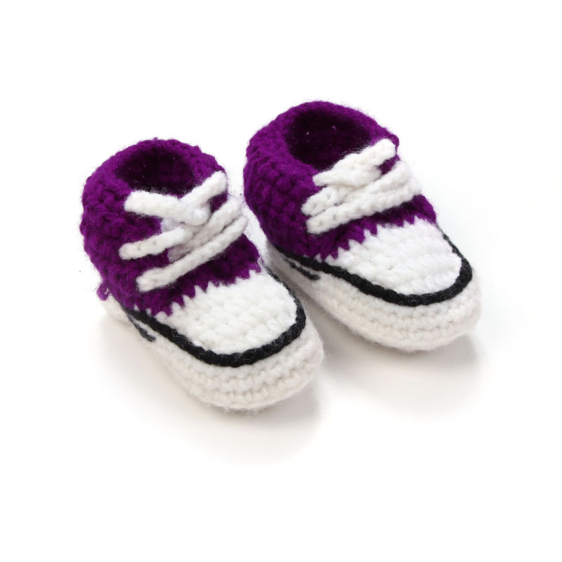 Multicolor-Knitted-Baby-Crib-Shoes-Handmade-Infant-Crochet-Booties-Lace-up-Newborn-Shoes-10cm-2