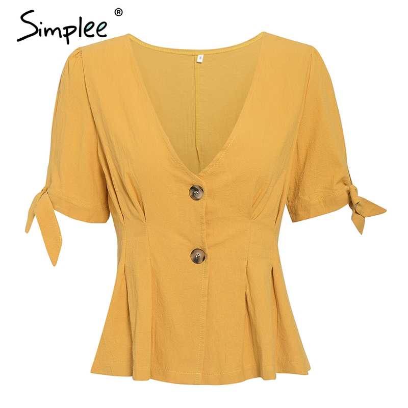 Simplee Sexy v-neck solid women blouse shirt Elegant button high waist peplum top shirt Bow tie short sleeve female top blouse