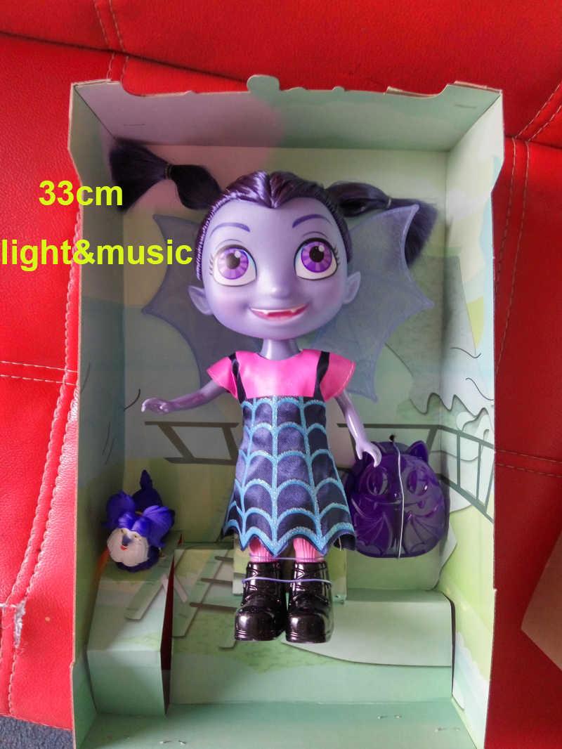 2018 33cm With Light & Music Movie Junior Vampirina Dolls Toys The Vamp Girl with Dog Figure Toys