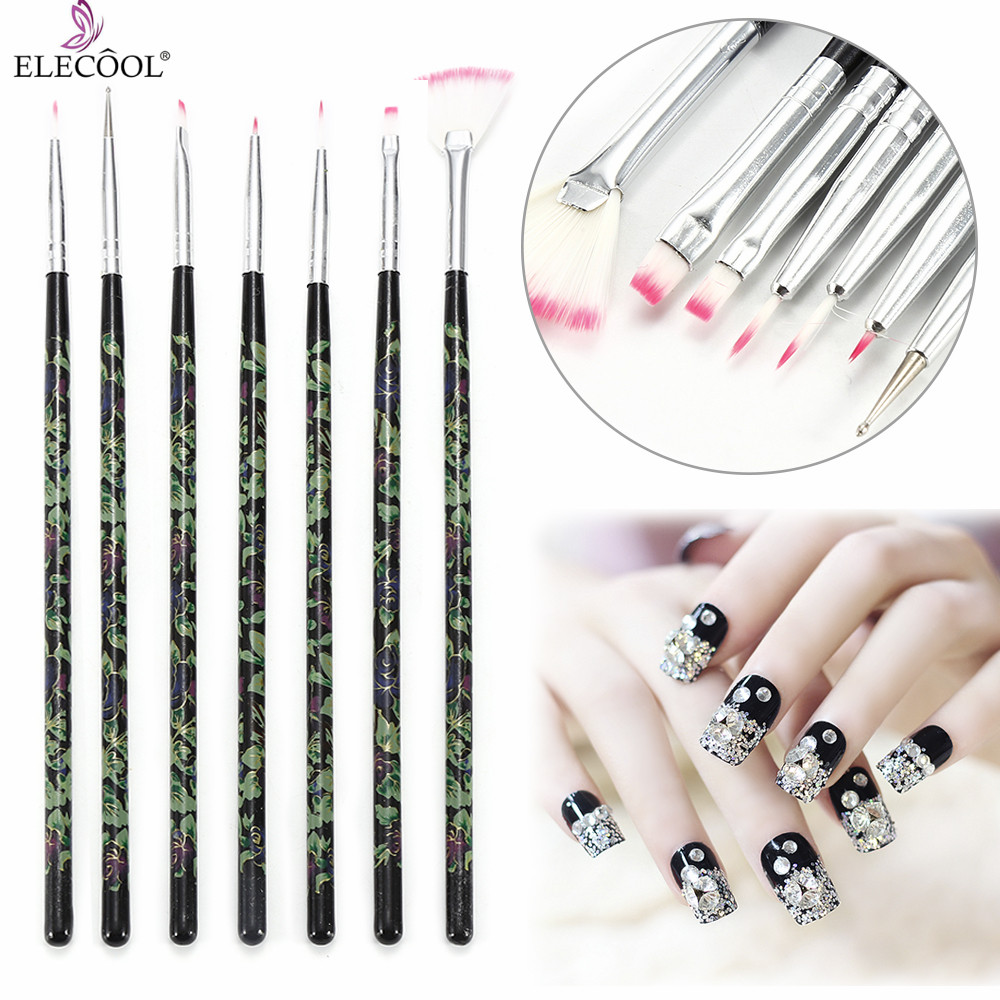ELECOOL 7PCs/Set Flower Pattern Handle Art UV Gel Polish Brush Nail Art Painting Brush Dotting Pen Nail Manicure Nail Art Tools