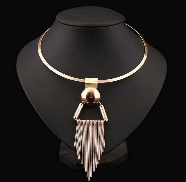 Exaggeration Gold Silver Ethnic Tibet Gypsy Punk Metal Torques Geometric Tassels Necklaces & Pendants Women Statement Jewelry