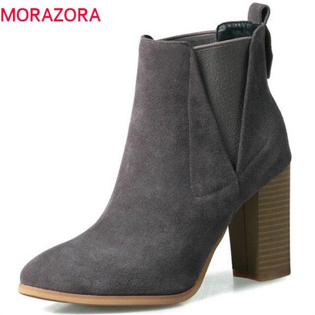 2f95fbe112 MORAZORA 2018 nowych moda buty kobieta krowa zamszowe Oryginalne buty  krótkie pluszowe jesień zima botki dla