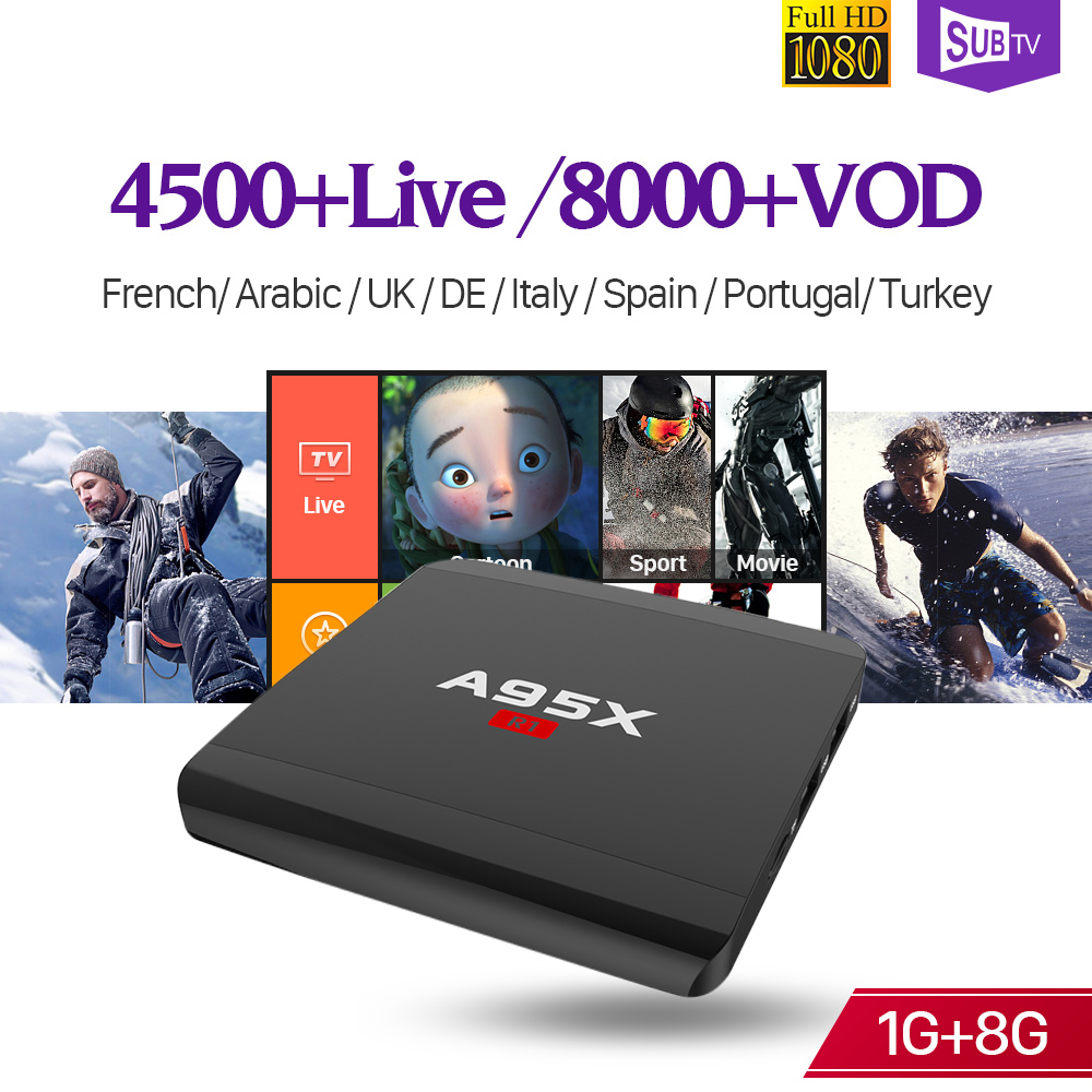 Decoder IPTV Full HD Live SUBTV Receiver Box A95XR1 S905W 4K WiFi Android French Italy Arabic Turkey IPTV Subscription Code цена