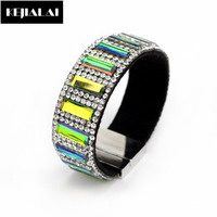 Luxury Full Crystal Rhinestone Beads Leather Bracelets & Bangles Magnetic Buckle Women Fashion Jewelry Shining Crystal Beads
