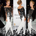 Custom-Made Free Shipping Met Gala Paris Hilton Black and White Applique Satin Long Celebrity Dresses 2014