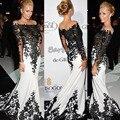Personalizado - feito frete grátis Met Gala Paris Hilton preto e branco Applique cetim longos vestidos da celebridade 2014