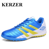 KERZER Indoor Soccer Shoes Leather Football Original Boots Black Green Turf Cleats Light Football Boots Artificial