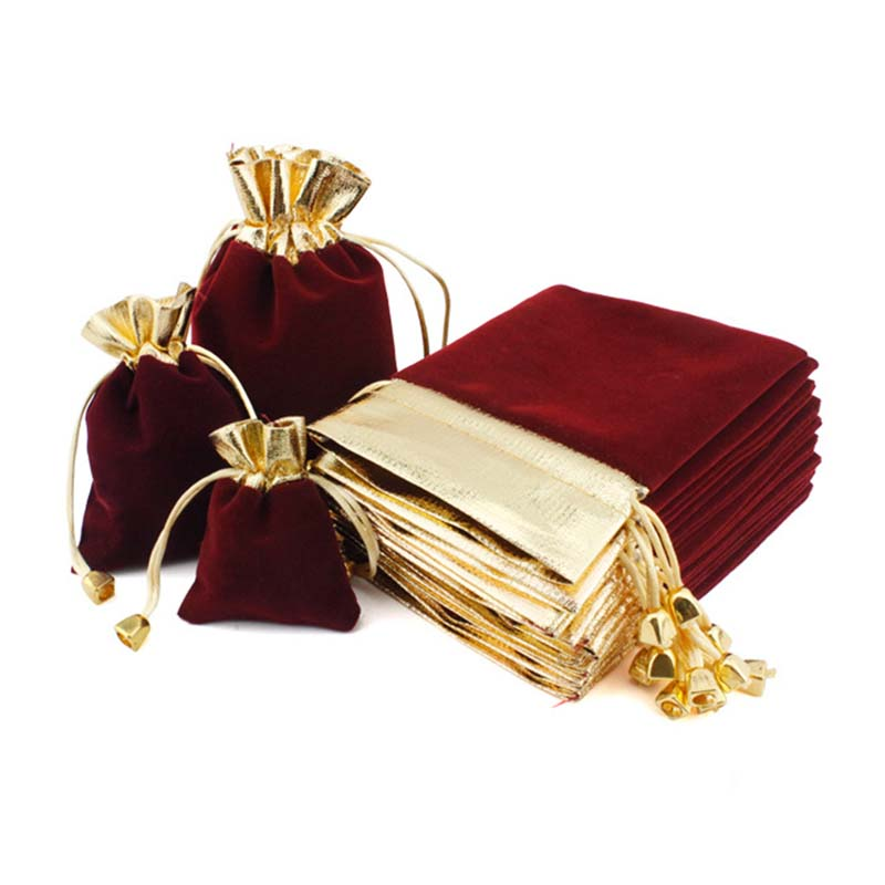5pcs/lot Vintage Velvet Package Bags 7x9 9x12 12x16cm Wine Red Organza Drawstring Gift Bags Wedding Jewelry Packaging Pouches