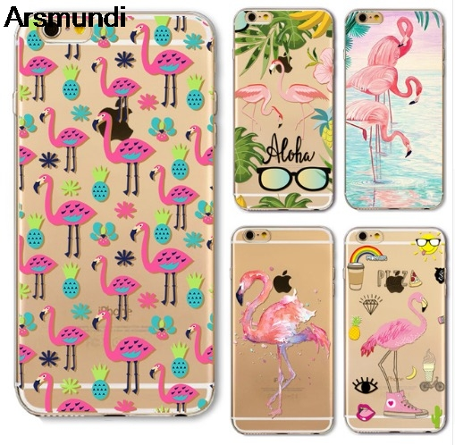 Arsmundi Novelty Fundas Cute Flamingo Phone Cases For Iphone 4s 5c 5s 6s 7 8 Se 6 Plus X Case Crystal Clear Soft Tpu Cover Cases Fitted Cases