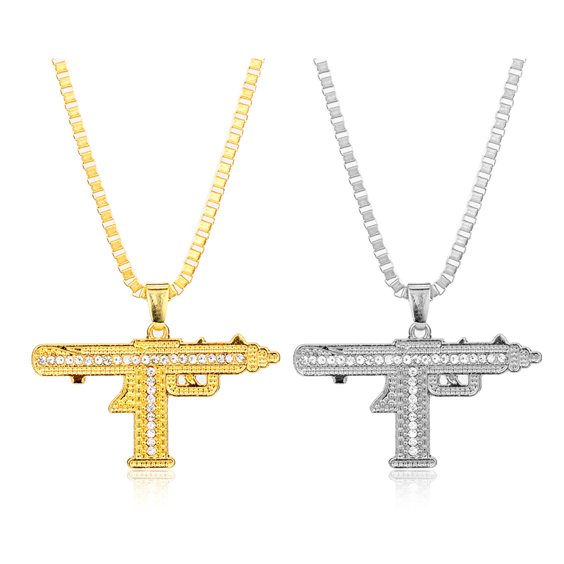 Aur Colour Out Sub Gun Uzi Colier pandantiv Bijuterii de moda Uzi Hip Hop Pandantive & Coliere pentru barbati Choker Hip Hop-10