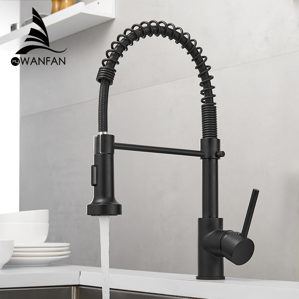 Black Kitchen Faucets  Brass Faucets For Kitchen Sink  Single Lever Pull Out Spring Spout Mixers Tap Hot Cold Water Crane 9009R
