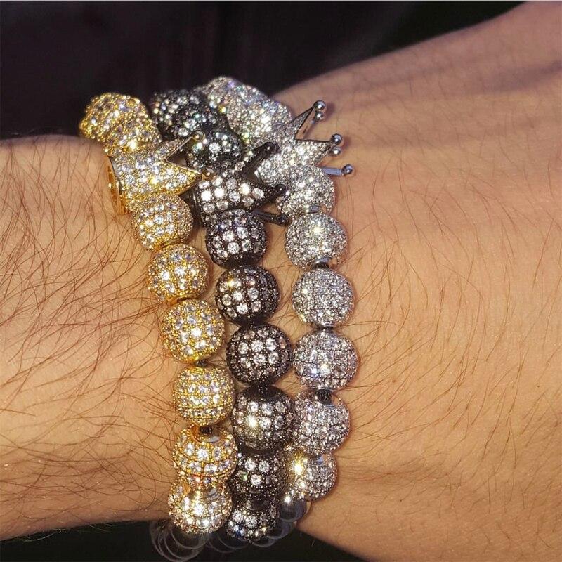 Mcllroy Zircon pulseras de la joyería de los hombres de Micro Pave CZ encanto de corona 4mm ronda abalorios trenzado Macrame pulsera pulseira femenina