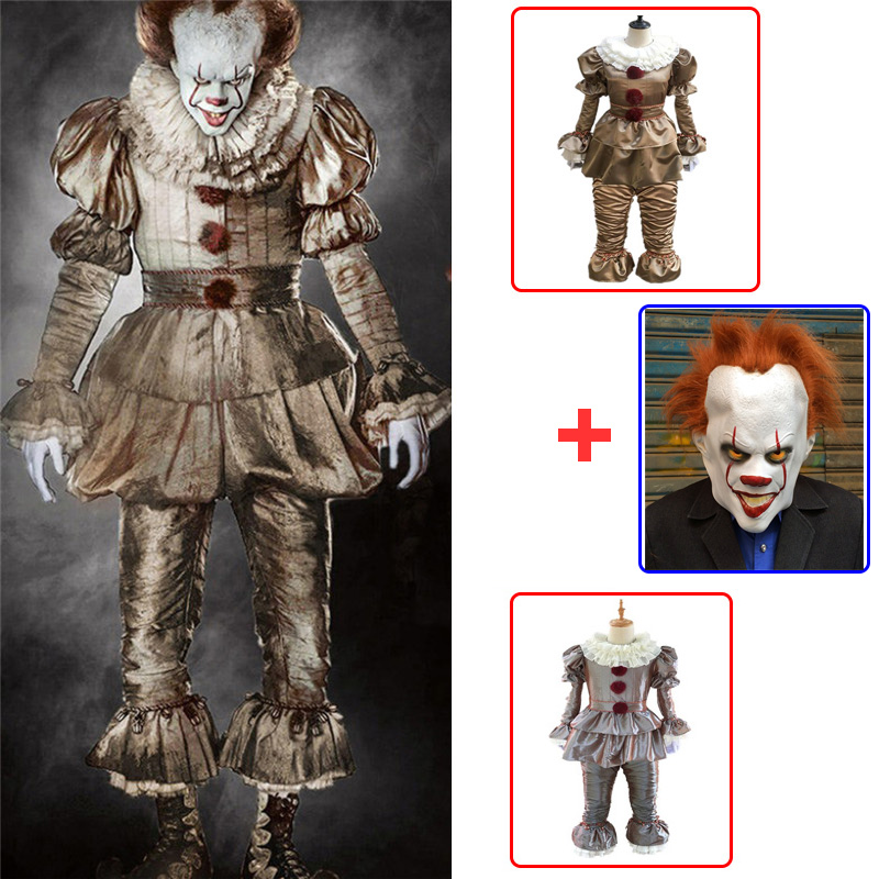 3pcs Clown Stephen King's It Cosplay Costume Pennywise Costume Adult Men Women Costume Fancy Halloween Outfit Suit Clown Costume
